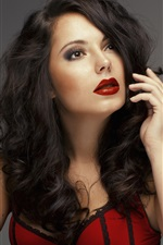Preview iPhone wallpaper Curly hair girl, red lips, lipstick, red dress