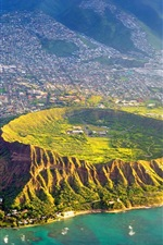 Preview iPhone wallpaper Diamond Head, Oahu, Hawaii, USA, top view