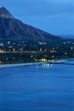 Preview iPhone wallpaper Diamond Head, USA, coast, sea, houses, night, lights