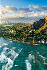 Preview iPhone wallpaper Diamond Head at sunset, Hawaii, USA, beautiful city, sea, coast