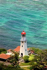 Preview iPhone wallpaper Diamond Head, lighthouse, Hawaii, USA, sea, coast