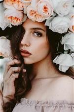 Preview iPhone wallpaper Different style, brown hair girl, rose flowers hat