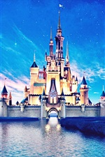 Disneyland castle, beautiful night view, river