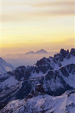 Preview iPhone wallpaper Dolomites, sunrise, snow, winter, Italy