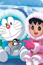 Preview iPhone wallpaper Doraemon, Antarctica cold, snow, penguins