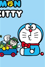 Preview iPhone wallpaper Doraemon with Hello Kitty