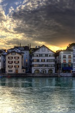 Preview iPhone wallpaper Dusk, houses, river, Zurich, Switzerland
