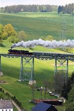 iPhone обои Рудные, Саксония, Германия, мост, поезд, пастбища, дома