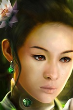 Preview iPhone wallpaper Fantasy Chinese girl, dragon, retro style