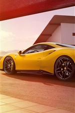Preview iPhone wallpaper Ferrari 488 GTB yellow supercar back view