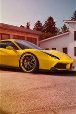 Preview iPhone wallpaper Ferrari 488 GTB yellow supercar