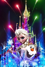 Preview iPhone wallpaper France, Paris, Disneyland at night, beautiful fireworks, Christmas