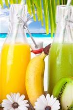Preview iPhone wallpaper Fruit drinks, cocktails, strawberry, banana, kiwi, sea, beach, tropical, sun