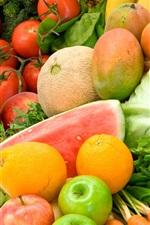 Fruits and vegetables, orange, apple, banana, tomato, melon, grapes