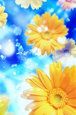 Preview iPhone wallpaper Gerbera, flowers, petals, water, blue background