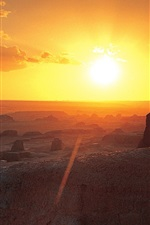 Preview iPhone wallpaper Ghost City, Wuerhe District, Xinjiang, sunset, desert