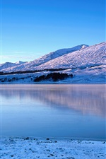 Preview iPhone wallpaper Glen Coe, river, winter, snow, mountains, Scotland, UK