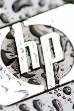 HP logo, water drops