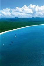 Preview iPhone wallpaper Hamilton Island, beautiful coast beach, blue sea, boats, Australia