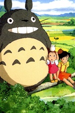 Preview iPhone wallpaper Hayao Miyazaki, My Neighbor Totoro, beautiful countryside