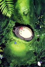 Preview iPhone wallpaper Hayao Miyazaki, My Neighbor Totoro, falling asleep