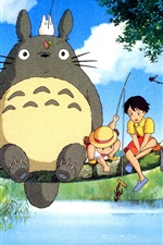 Preview iPhone wallpaper Hayao Miyazaki, My Neighbor Totoro, happy fishing