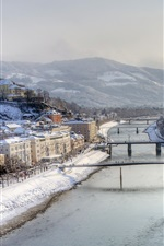 Preview iPhone wallpaper Hazy morning, snowstorm, river, Salzburg, Austria
