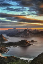 Preview iPhone wallpaper Himmeltinden, Leknes, Norway, sunset, mountains, clouds