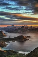 Himmeltinden, Leknes, Норвегия, закат, горы, облака