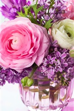 Preview iPhone wallpaper Home decoration flowers, rose, lilac, vase, bouquet