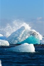 Preview iPhone wallpaper Iceland beautiful snow, sea, winter