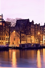 Preview iPhone wallpaper Illuminated, buildings, canal, night, Amsterdam, Netherlands