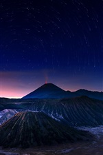 Preview iPhone wallpaper Indonesia, Java, Bromo volcano, night, stars