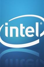 Preview iPhone wallpaper Intel brand logo, blue background