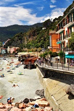 Preview iPhone wallpaper Italy, Monterosso, sea, coast, beach, houses, mountains