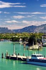 Preview iPhone wallpaper Italy, Peschiera del Garda, Veneto, mountains, pier, boats