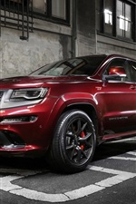 Jeep, Grand Cherokee, red SUV, city, road, night