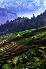 Preview iPhone wallpaper Jiaban Terraces, China Guizhou, mountains, trees, fields