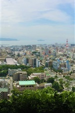 Preview iPhone wallpaper Kagoshima Shiroyama Park top view the city, Japan