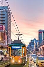 Preview iPhone wallpaper Kagoshima city, Japan, dusk, street, road, buildings, lights