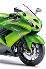 Preview iPhone wallpaper Kawasaki ZZR 1400 motorcycles, green color
