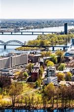 Letónia, Riga, cidade, casas, rio, ponte, árvores