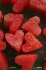 Preview iPhone wallpaper Love hearts shaped watermelons