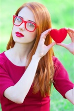 Preview iPhone wallpaper Lovely girl, red dress, posture, glasses, love hearts