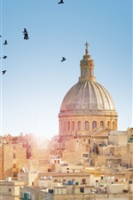 Preview iPhone wallpaper Malta, Valletta City town, buildings, birds, sun rays