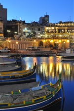 Preview iPhone wallpaper Malta beautiful night, houses, lights, boats