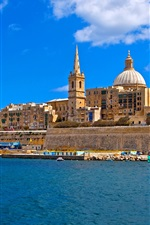 Preview iPhone wallpaper Malta, island, sea, coast, houses, boats, blue sky