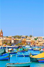 Preview iPhone wallpaper Malta, sea, boats, houses, blue sky, travel place