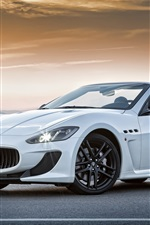 Preview iPhone wallpaper Maserati Convertible GranCabrio MC white supercar