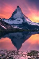 Preview iPhone wallpaper Matterhorn, beautiful sunset landscape, mountain, lake, water reflection
